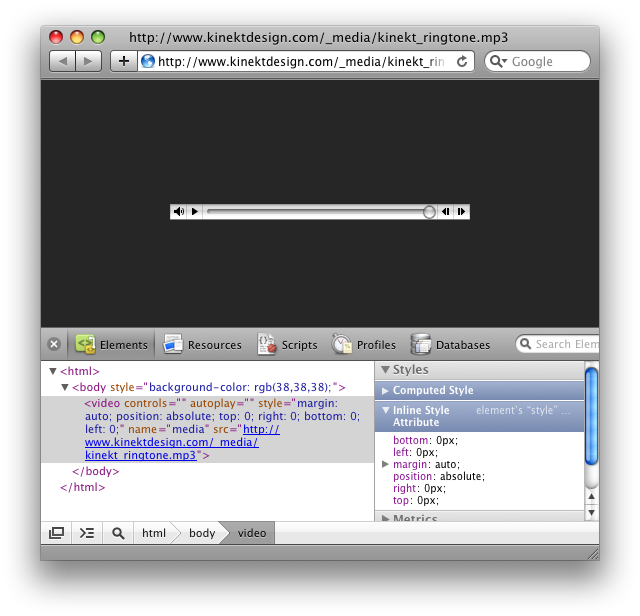Screenshot of one of Safari's debug features showing off a really cool CSS trick