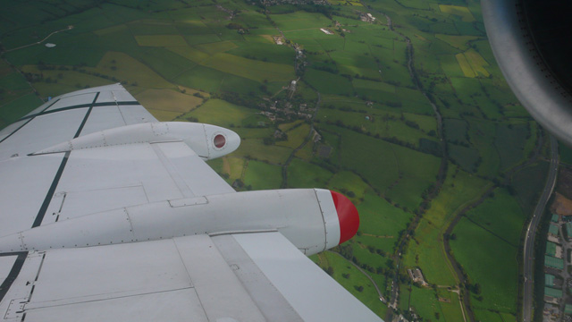 Leeds, UK, from the perspective of an airliner passenger seat